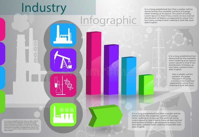 Przemysłu infographics proces produkcji ilustracji