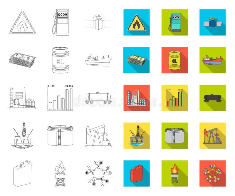 Przemys?u paliwowego kontur, p?askie ikony w ustalonej kolekcji dla projekta Wyposa?enie i produkcja ropy naftowej symbolu zapasu royalty ilustracja