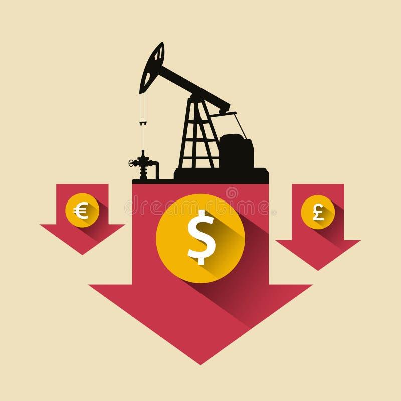 Przemysłu Paliwowego pojęcie Cena ropy puszka spada strzała z ropami naftowymi ilustracja wektor