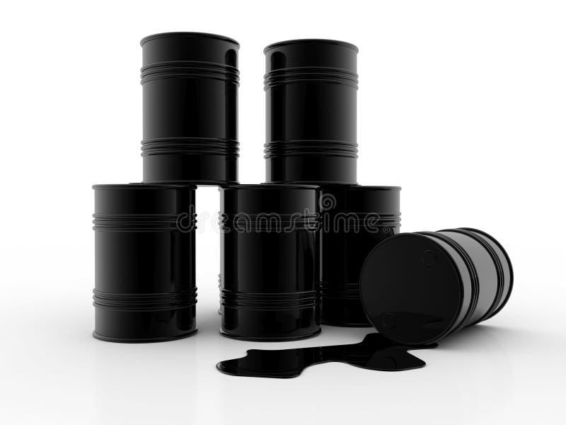 Przemysłu Paliwowego pojęcie, 3D czarna nafciana baryłka odizolowywająca na czarnym tle ilustracja ilustracja wektor