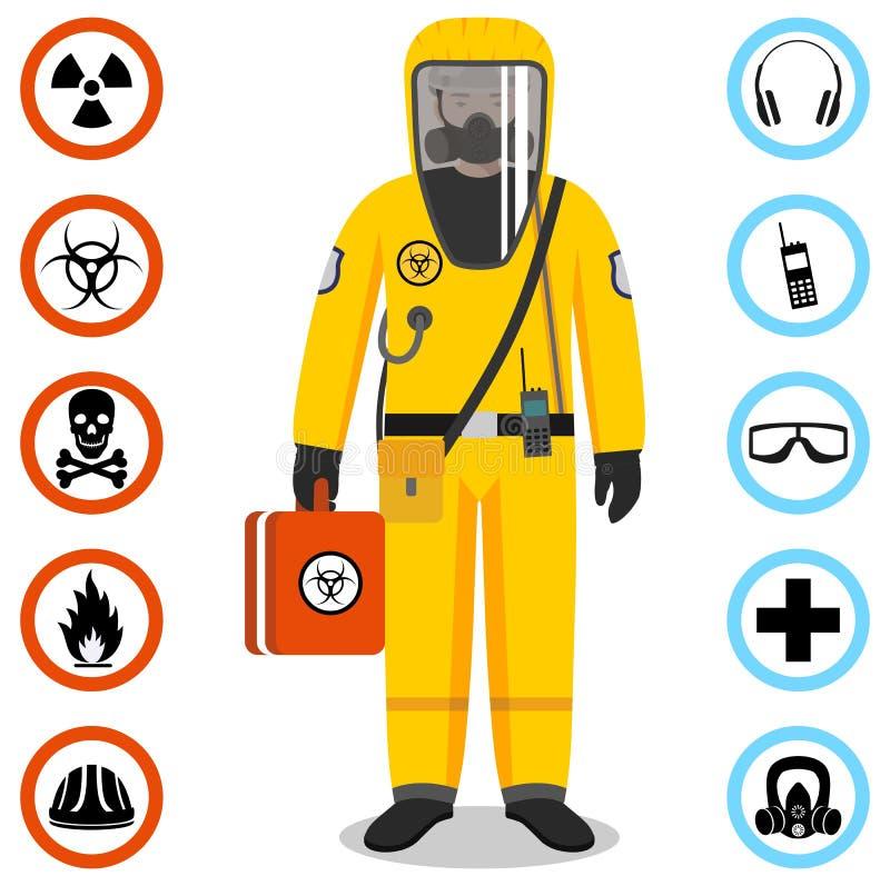 Przemysłu pojęcie Szczegółowa ilustracja pracownik w żółtym ochronnym kostiumu Zbawcze i zdrowie wektoru ikony Set ilustracja wektor