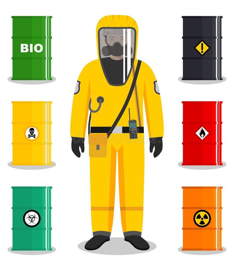 Przemysłu pojęcie Szczegółowa ilustracja pracownik w ochronnym kostiumu Metal beczkuje dla oleju, biopaliwo, środek wybuchowy ilustracji