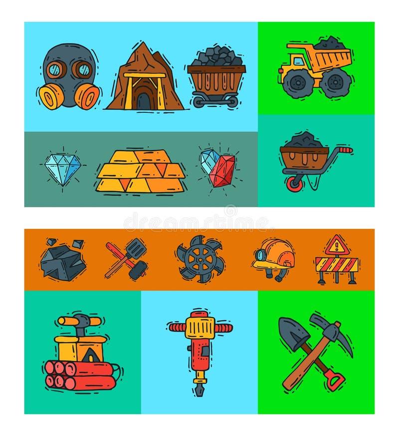 przemysłu wydobywczego wektoru ilustracja Zawód i zajęcie górnik Coalmining wyposażenie, górników narzędzia special royalty ilustracja