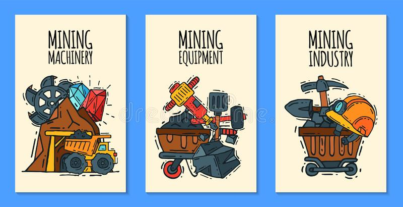 Przemys? wydobywczy ustawiaj?cy sztandaru wektoru ilustracja Zaw?d i zaj?cie Coalmining wyposa?enie, g?rnik?w narz?dzia ilustracja wektor