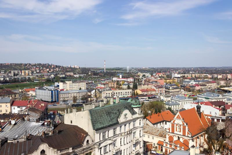 Przemyski, Polska, - Kwiecień 14, 2019 Odgórny widok miasto obrazy royalty free