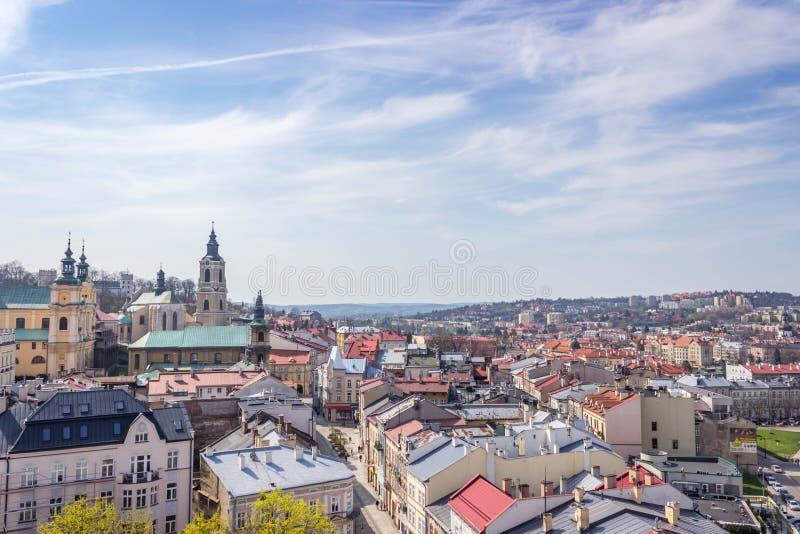 Przemyski, Polska, - Kwiecień 14, 2019 Odgórny widok miasto fotografia stock