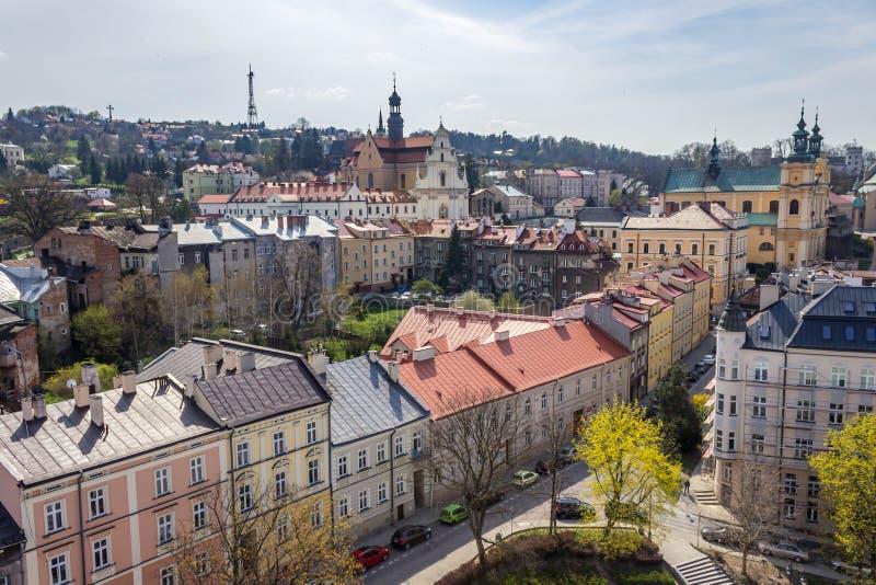 Przemyski, Polska, - Kwiecień 14, 2019 Odgórny widok miasto zdjęcia stock