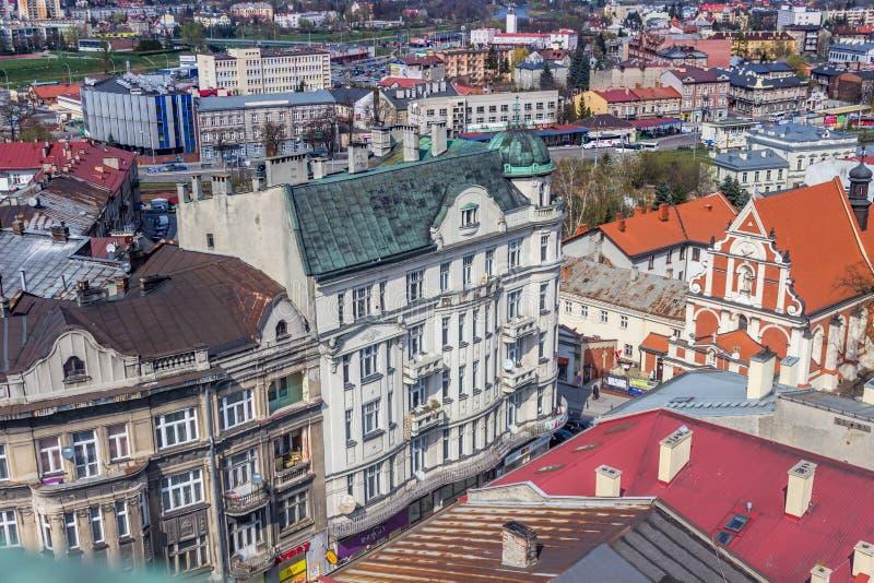 Przemyski, Polska, - Kwiecień 14, 2019 Odgórny widok miasto fotografia royalty free