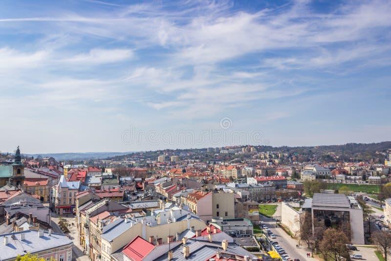 Przemyski, Polska, - Kwiecień 14, 2019 Odgórny widok miasto obrazy stock