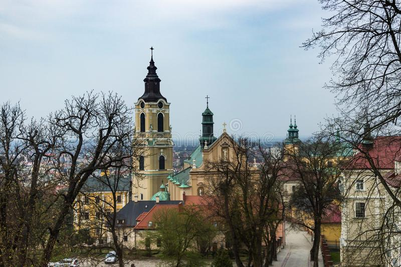 Przemysl, Poland, - April 13, 2019. The Cathedral of Przemysl officially the Cathedral Basilica of the Assumption of the Blessed. Virgin Mary and St. John the stock images
