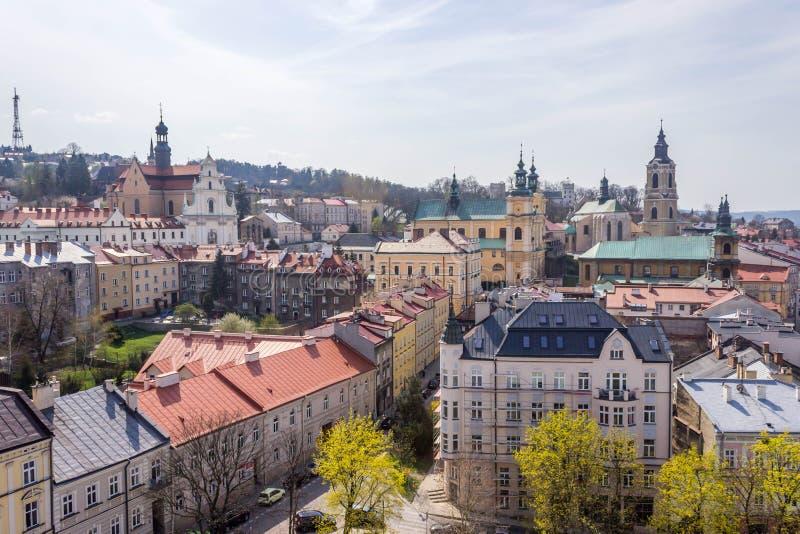 Przemysl, Polen, - 14. April 2019 Draufsicht zur Stadt lizenzfreie stockbilder