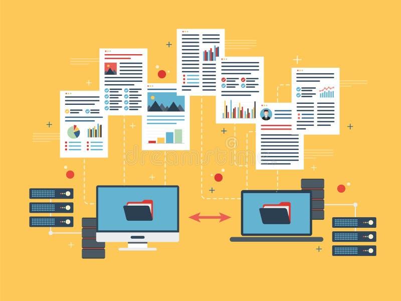 Przeniesienie dane między komputerem i laptopem Pomocniczy dane i sieć komputerowa royalty ilustracja