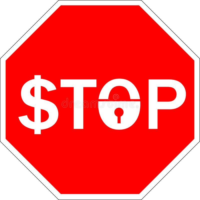 Przeniesienie, używa dolar Kędziorka symbol zabrania bank waluty znaka Dolarowy symbol pod kędziorkiem, przerwa symbol royalty ilustracja