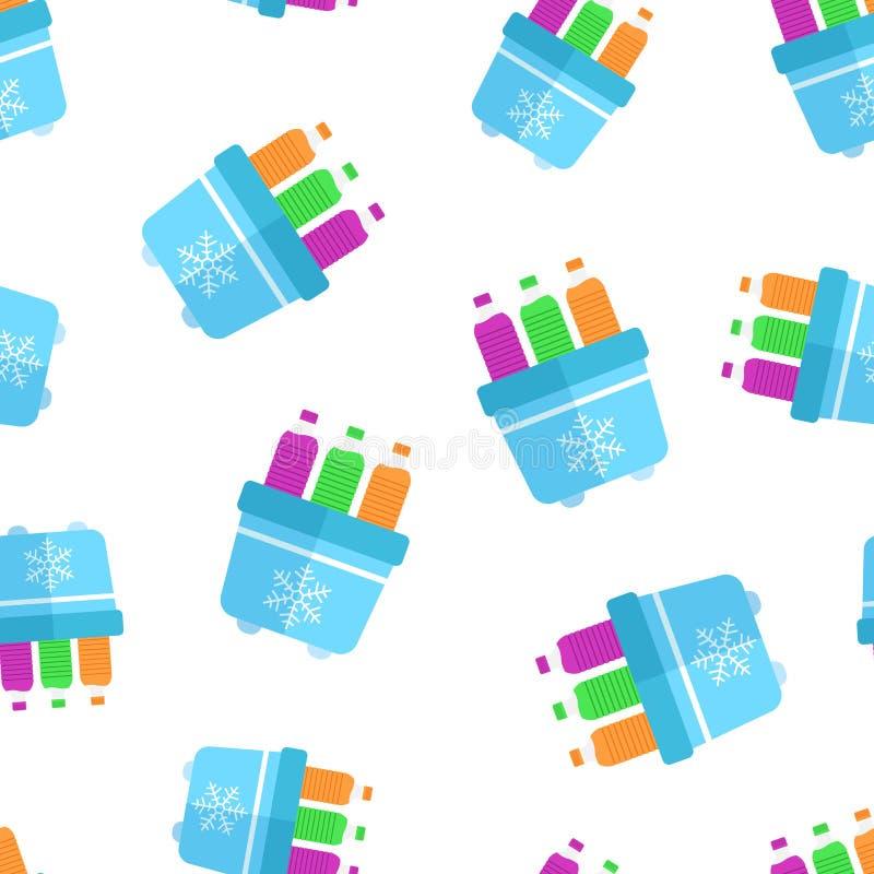 Przenośna fridge chłodziarka z bidon ikony bezszwowym deseniowym tłem Chłodni torby zbiornika wektoru ilustracja fridge royalty ilustracja