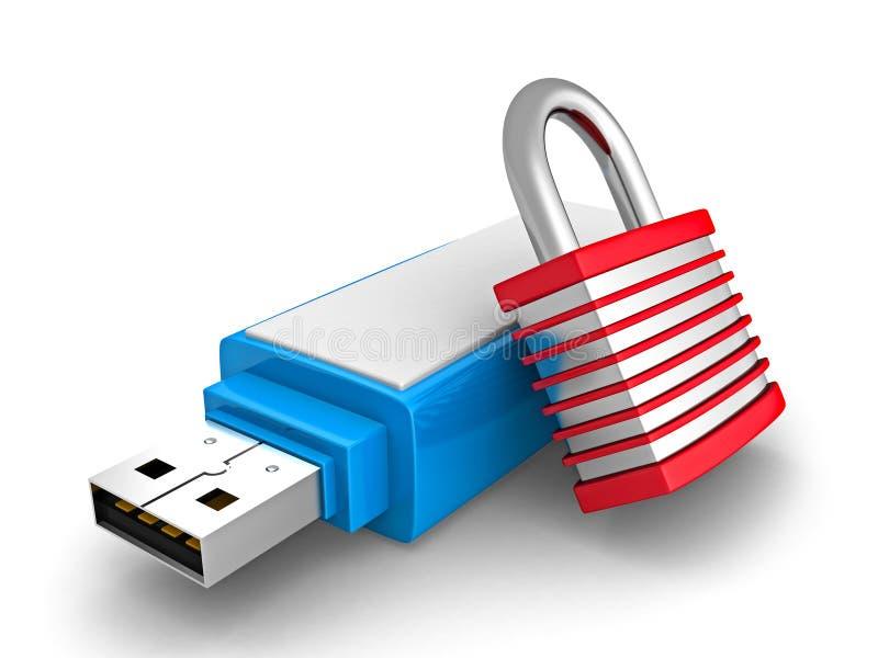 Przenośna USB błysku przejażdżka Z ochrony kłódką ilustracji