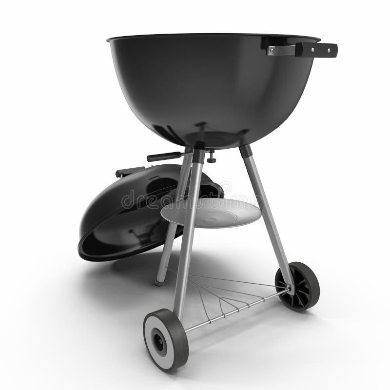 Przenośnego grilla grilla round kształt na bielu 3D ilustracja, ścinek ścieżka ilustracja wektor