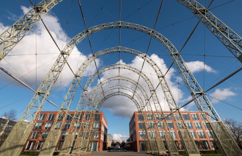 Przenośny sterowa hangar, budujący w 1912 na oryginału Farnborough lotniska miejscu, teraz Farnborough Biznesowy park obrazy royalty free