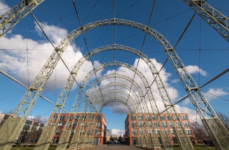 Przenośny sterowa hangar, budujący w 1912 na oryginału Farnborough lotniska miejscu, teraz Farnborough Biznesowy park zdjęcie stock