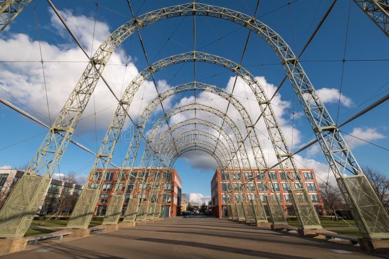 Przenośny sterowa hangar, budujący w 1912 na oryginału Farnborough lotniska miejscu, teraz Farnborough Biznesowy park fotografia stock