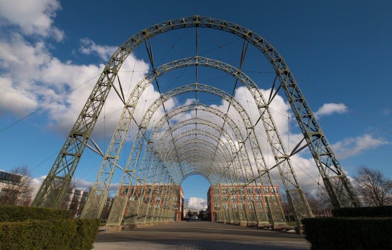 Przenośny sterowa hangar, budujący w 1912 na oryginału Farnborough lotniska miejscu, teraz Farnborough Biznesowy park zdjęcia stock
