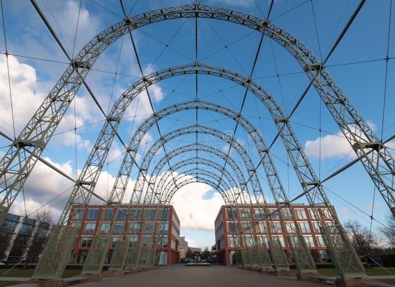 Przenośny sterowa hangar, budujący w 1912 na oryginału Farnborough lotniska miejscu, teraz Farnborough Biznesowy park obraz stock