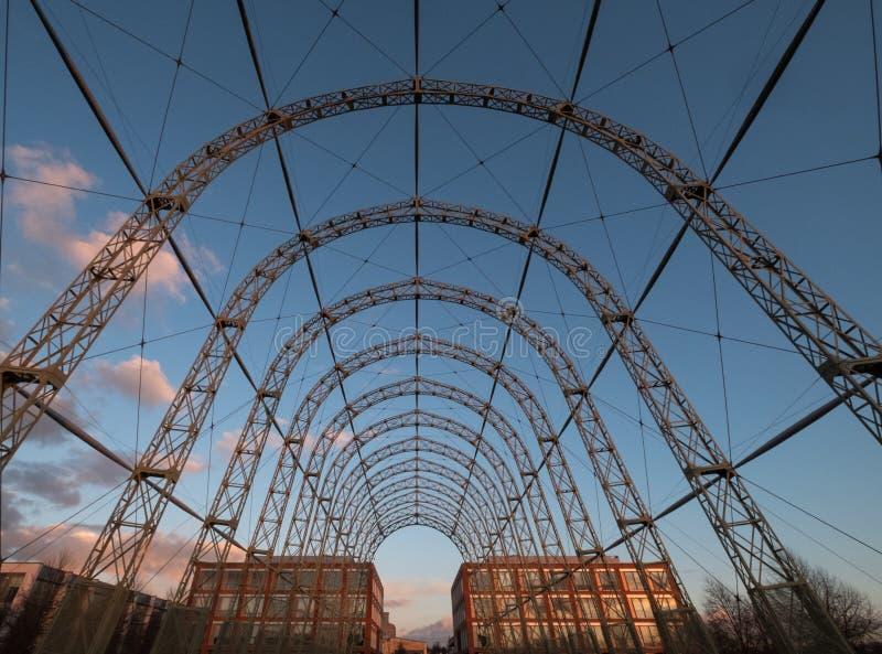 Przenośny sterowa hangar, budujący w 1912 na oryginału Farnborough lotniska miejscu, teraz Farnborough Biznesowy park obrazy stock