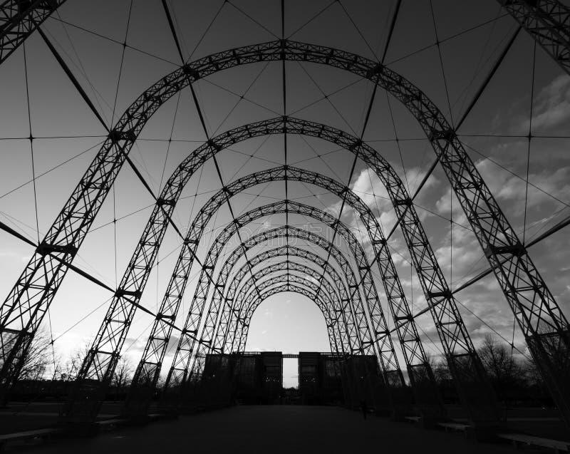 Przenośny sterowa hangar, budujący w 1912 na oryginału Farnborough lotniska miejscu, teraz Farnborough Biznesowy park fotografia royalty free