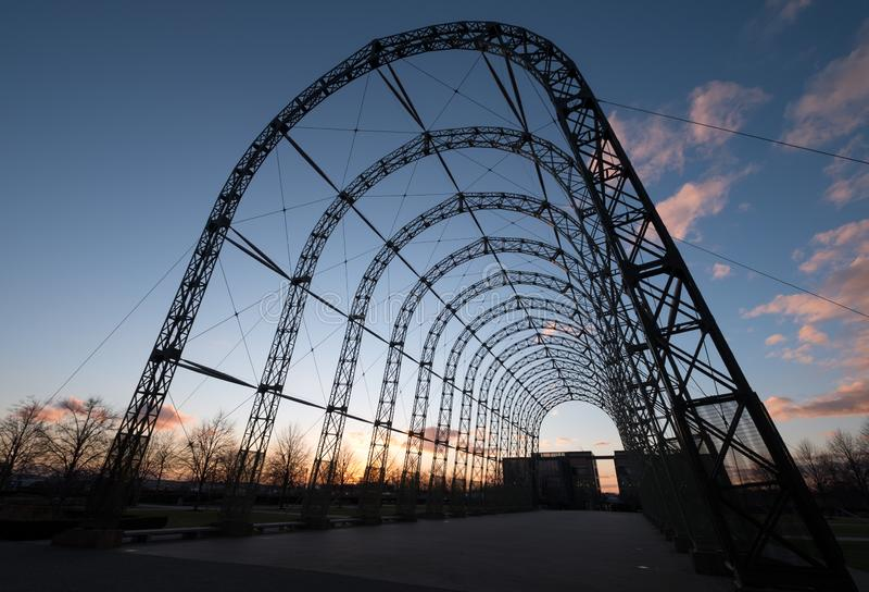 Przenośny sterowa hangar, budujący w 1912 na oryginału Farnborough lotniska miejscu, teraz Farnborough Biznesowy park obraz royalty free