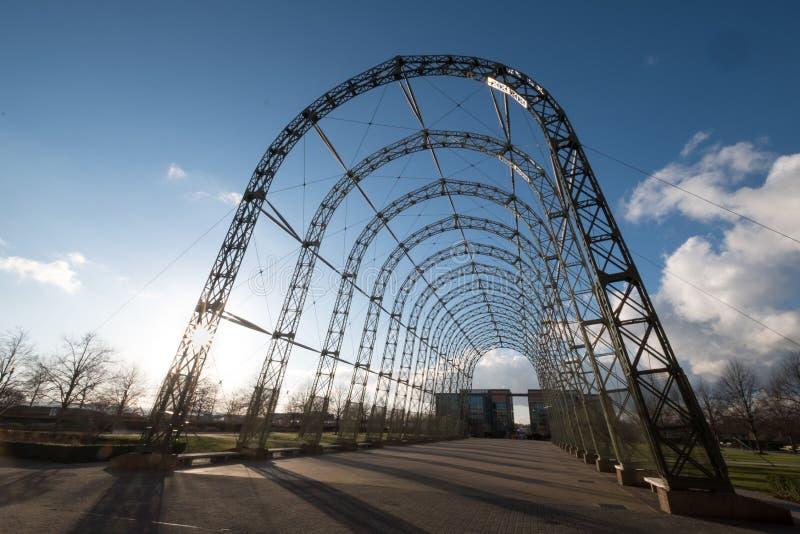 Przenośny sterowa hangar, budujący w 1912 na oryginału Farnborough lotniska miejscu, teraz Farnborough Biznesowy park zdjęcie royalty free