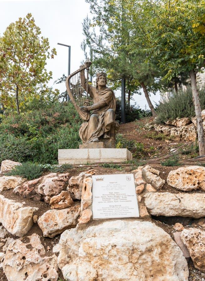 Przenoszący nowy miejsce zabytek królewiątko David który poprzednio stał blisko Zion bramy w starym mieście Jerozolima, Izrael, obraz royalty free