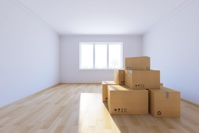 Przenoszenie pudeł w nowym domu ilustracja wektor