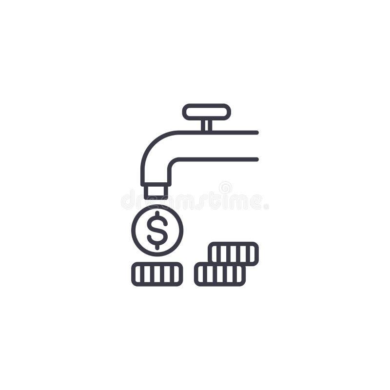 Przepływ celny liniowy ikony pojęcie Przepływ dochód linii wektoru znak, symbol, ilustracja ilustracji