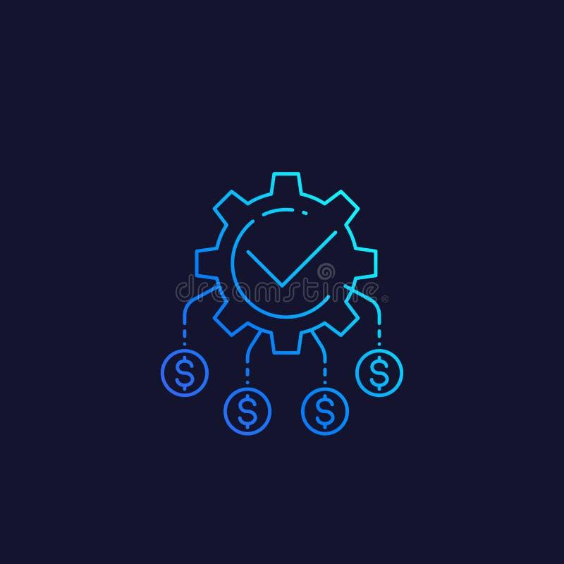 Przepływ gotówki, fundusz optymalizacja, wektorowa liniowa ikona royalty ilustracja