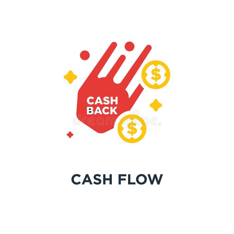 Przepływ gotówki ikona pieniądze pojęcia symbolu powrotny projekt, wektorowy illus royalty ilustracja