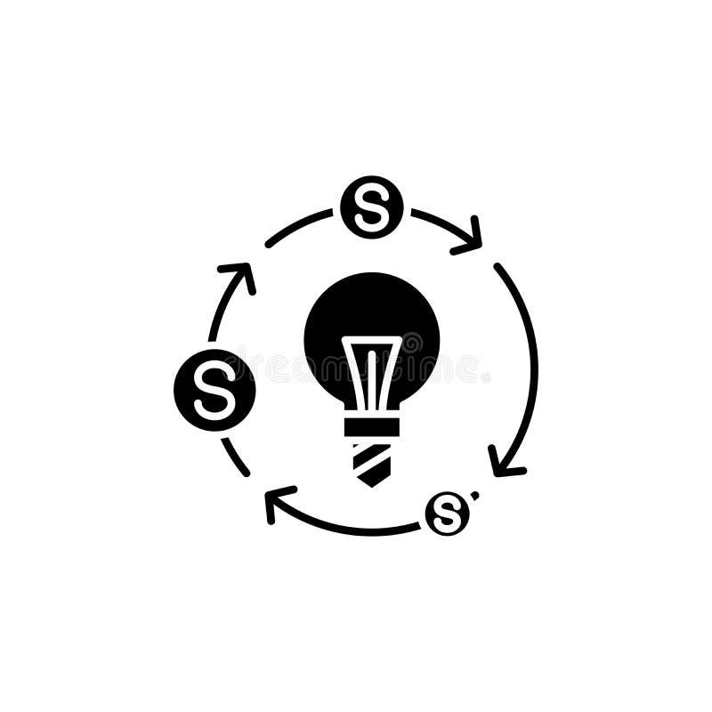 Przepływ gotówki ikony czarny pojęcie Przepływu gotówki płaski wektorowy symbol, znak, ilustracja ilustracji