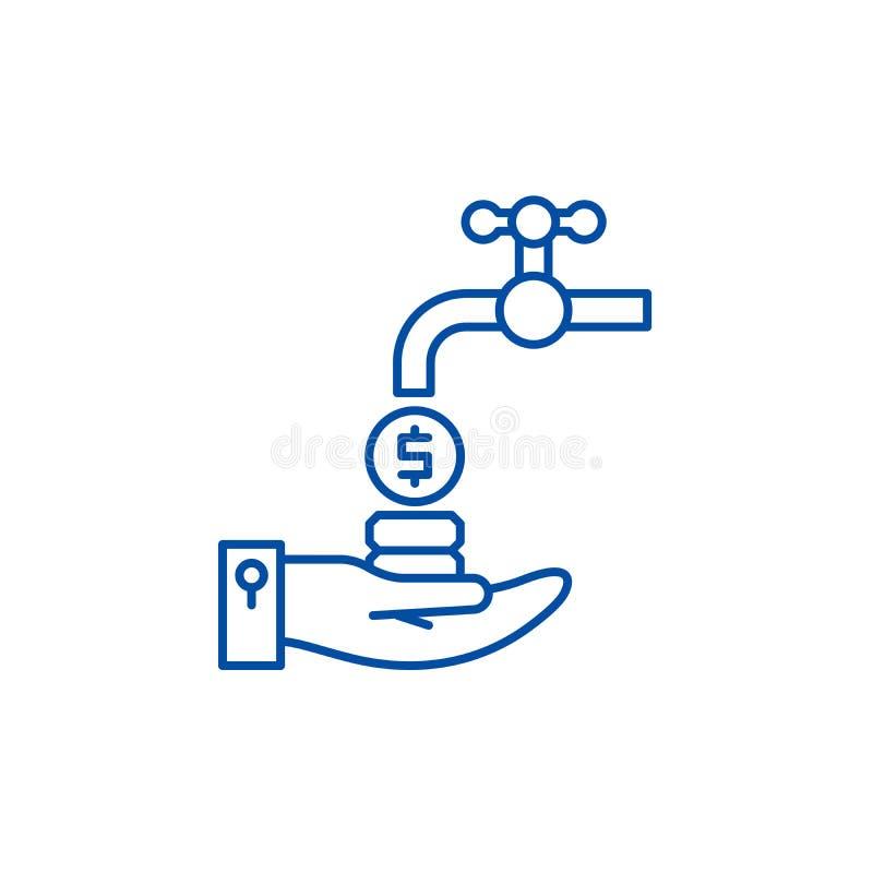Przepływ gotówki linii ikony pojęcie Przepływu gotówkiego płaski wektorowy symbol, znak, kontur ilustracja ilustracji