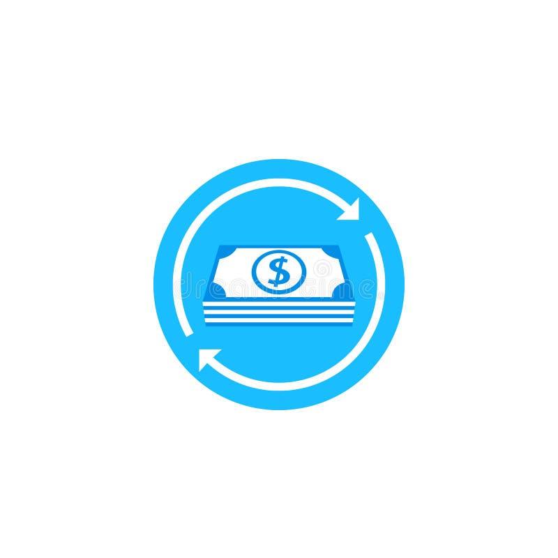 Przepływ gotówki, pieniądze powrotna wektorowa ikona ilustracja wektor