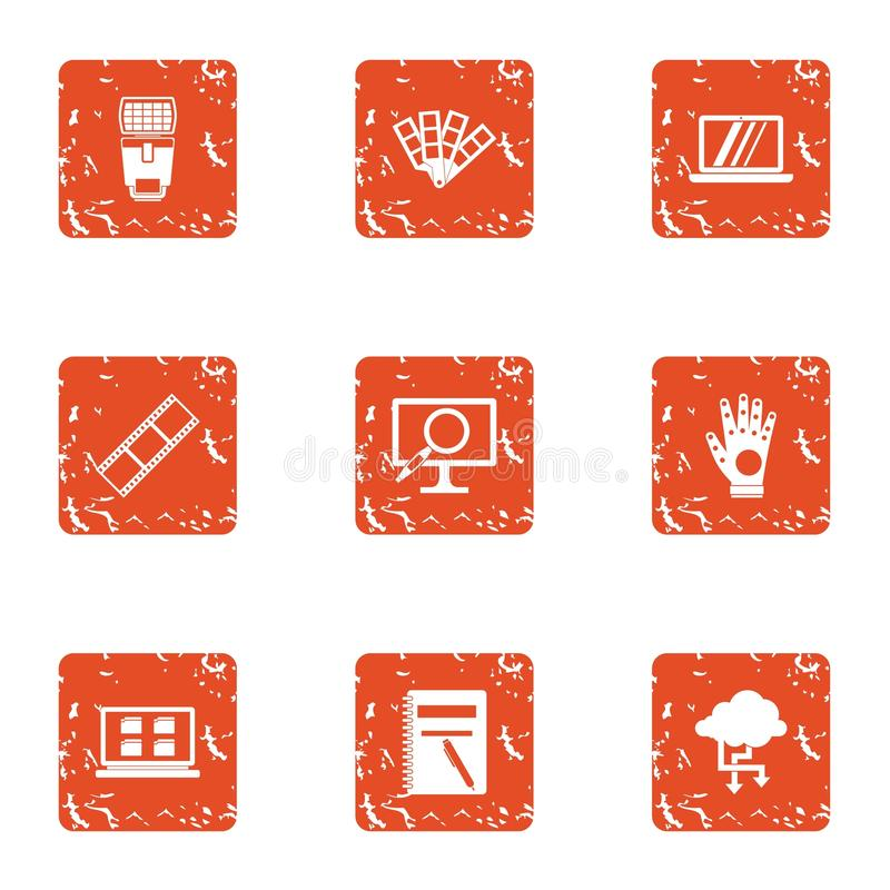 Przepływ informacji ikony ustawiać, grunge styl royalty ilustracja