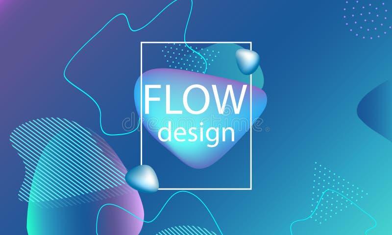Przepływ kształtuje tło Falista abstrakt pokrywa royalty ilustracja