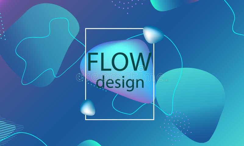 Przepływ kształtuje tło Falista abstrakt pokrywa ilustracja wektor