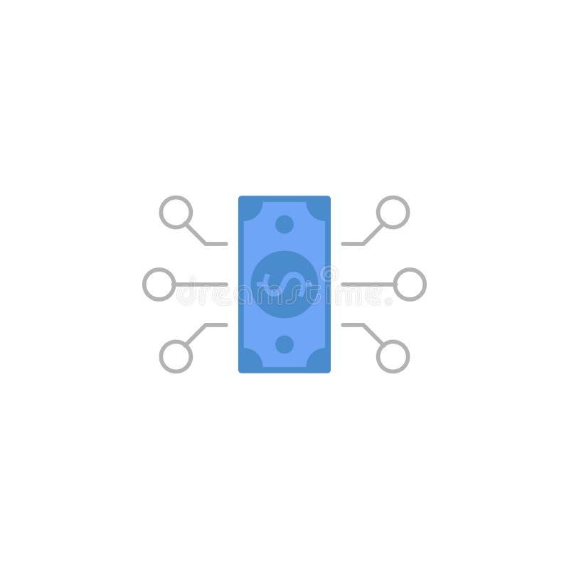 Przepływ, pieniądze, transakcja, przeniesienie dwa barwi błękitną i szarą ikonę ilustracja wektor
