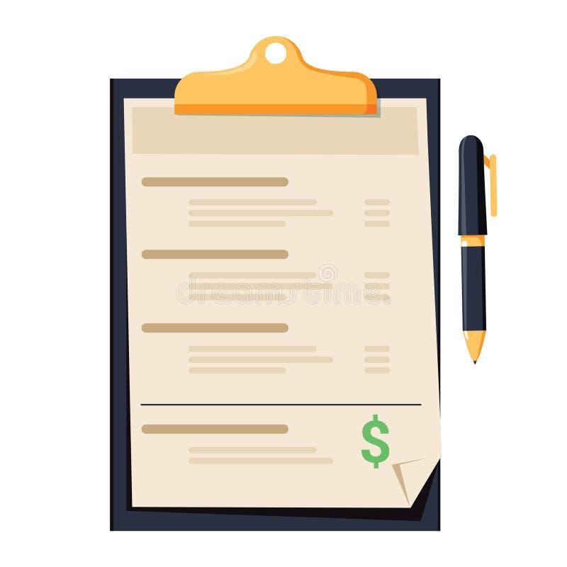 przepływu gotówki oświadczenie Schowek z sprawozdaniem finansowym, financi ilustracji