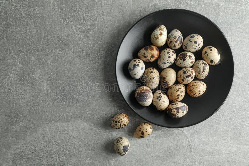 Przepiórek jajka w talerzu na popielatym tle, przestrzeń dla teksta obrazy stock