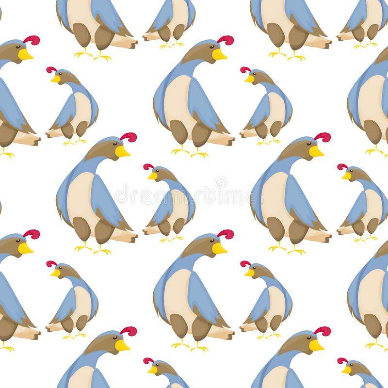 Przepiórka ptaka wzoru wektorowego płaskiego bezszwowego tła projekta mała kurna ilustracja ilustracji