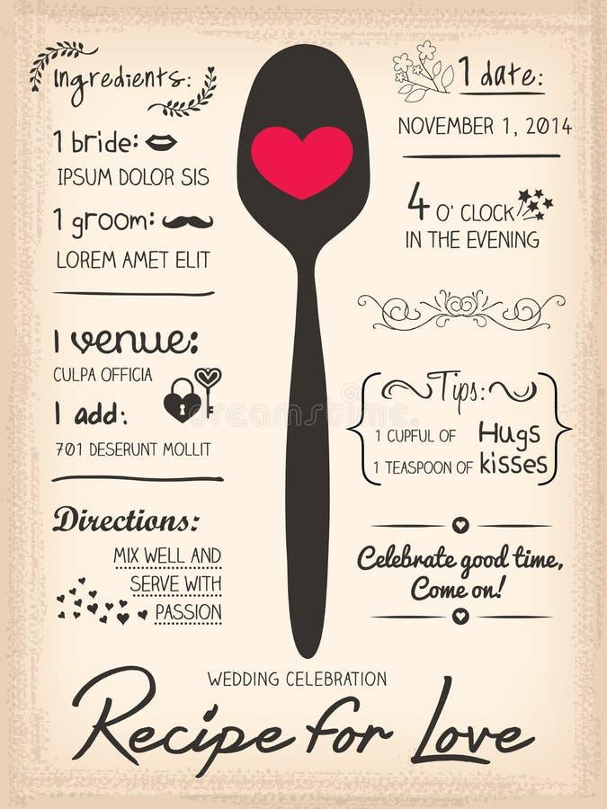 Przepis dla miłości kreatywnie Ślubnego zaproszenia royalty ilustracja