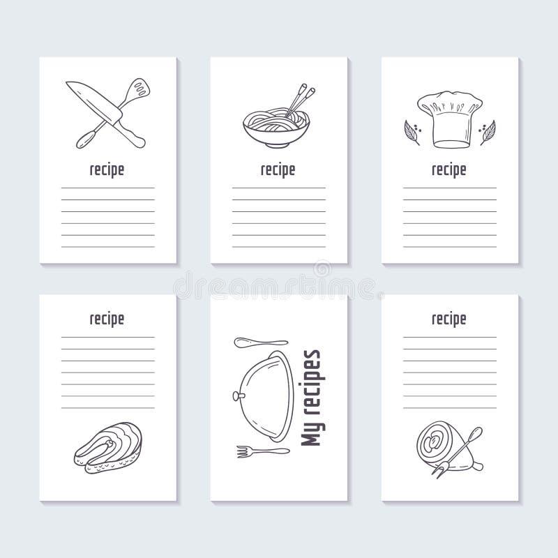 Przepis grępluje kolekcję z ręka rysującym jedzeniem royalty ilustracja