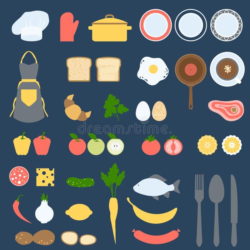 Przepis karty i Cook książki projekta set, Płaska Wektorowa ilustracja royalty ilustracja