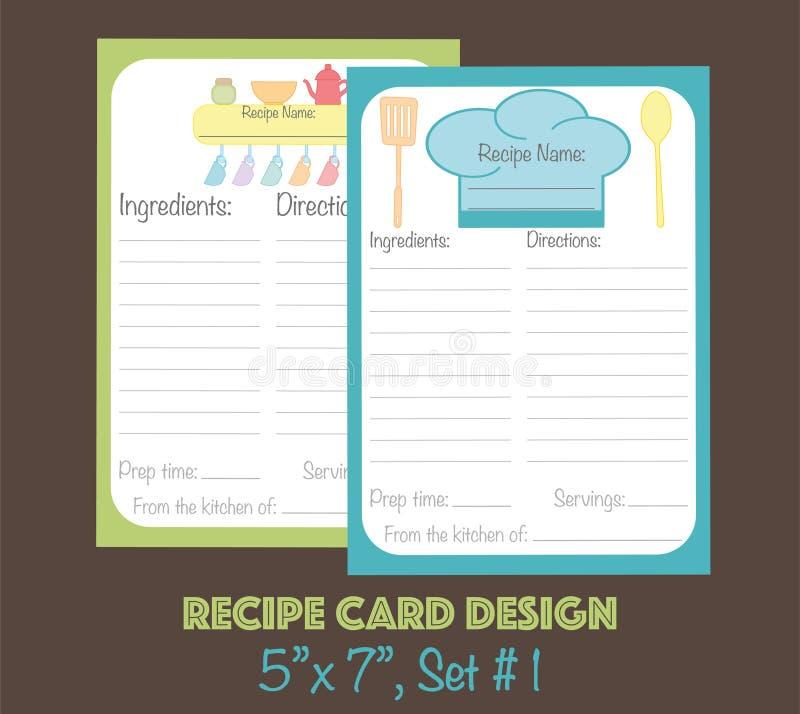 Przepis karty ustawiać dekorować z kitchenware elementami ilustracja wektor