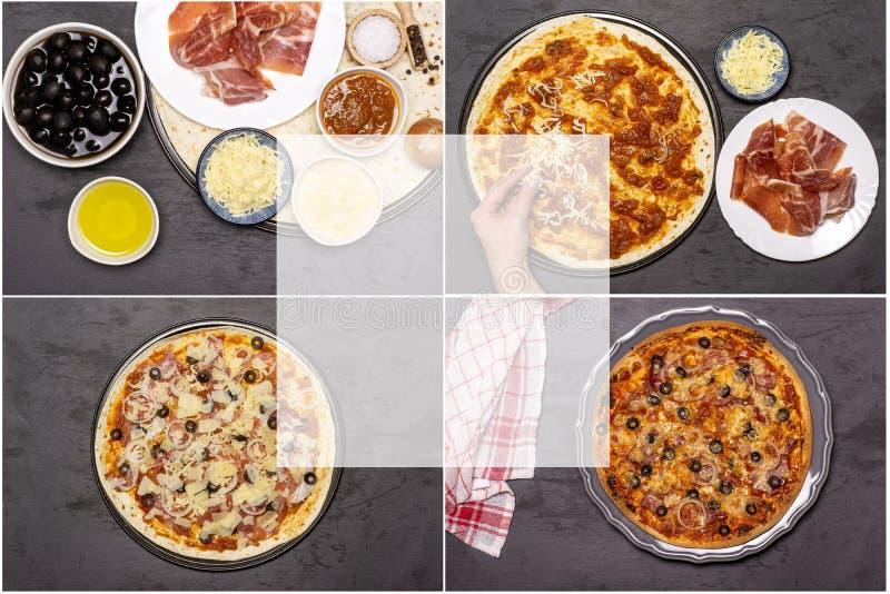 Przepis pizzy capriciosa na popielatym kamieniu zdjęcie stock