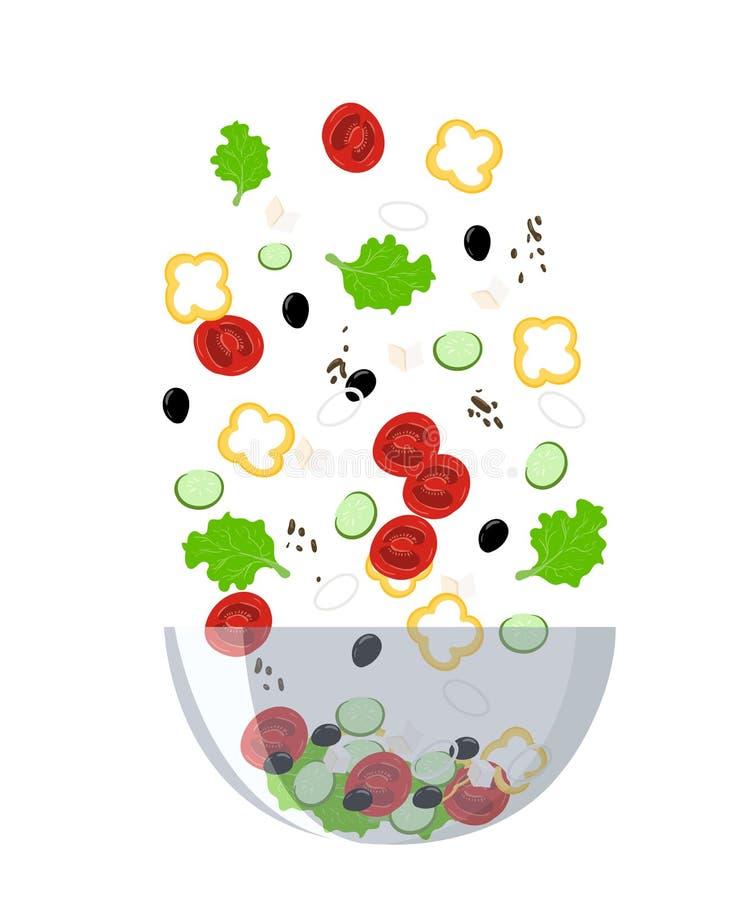 Przepis sałatkowych kulinarnych inkasowych tło soli pieprzu pikantność menu szparagowa Grecka sałatkowa restauracja royalty ilustracja